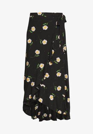 RUFFLE WRAP - Maxi sukně - black