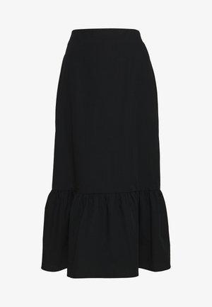 POPLIN TIERED MIDI - Áčková sukně - black