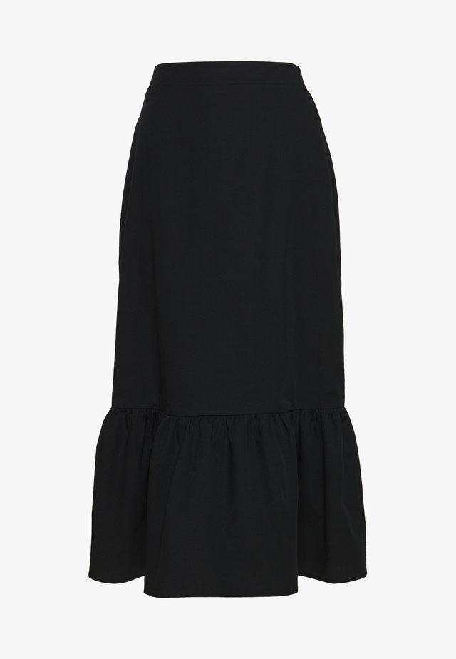 POPLIN TIERED MIDI - A-line skirt - black