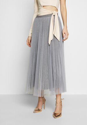 GLITTER PLEATED OVERLAY SKIRT - Jupe trapèze - mid grey