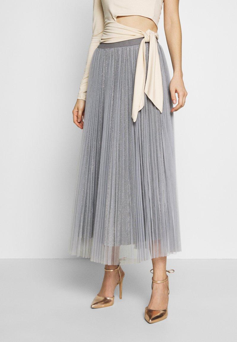 New Look - GLITTER PLEATED OVERLAY SKIRT - A-linjainen hame - mid grey