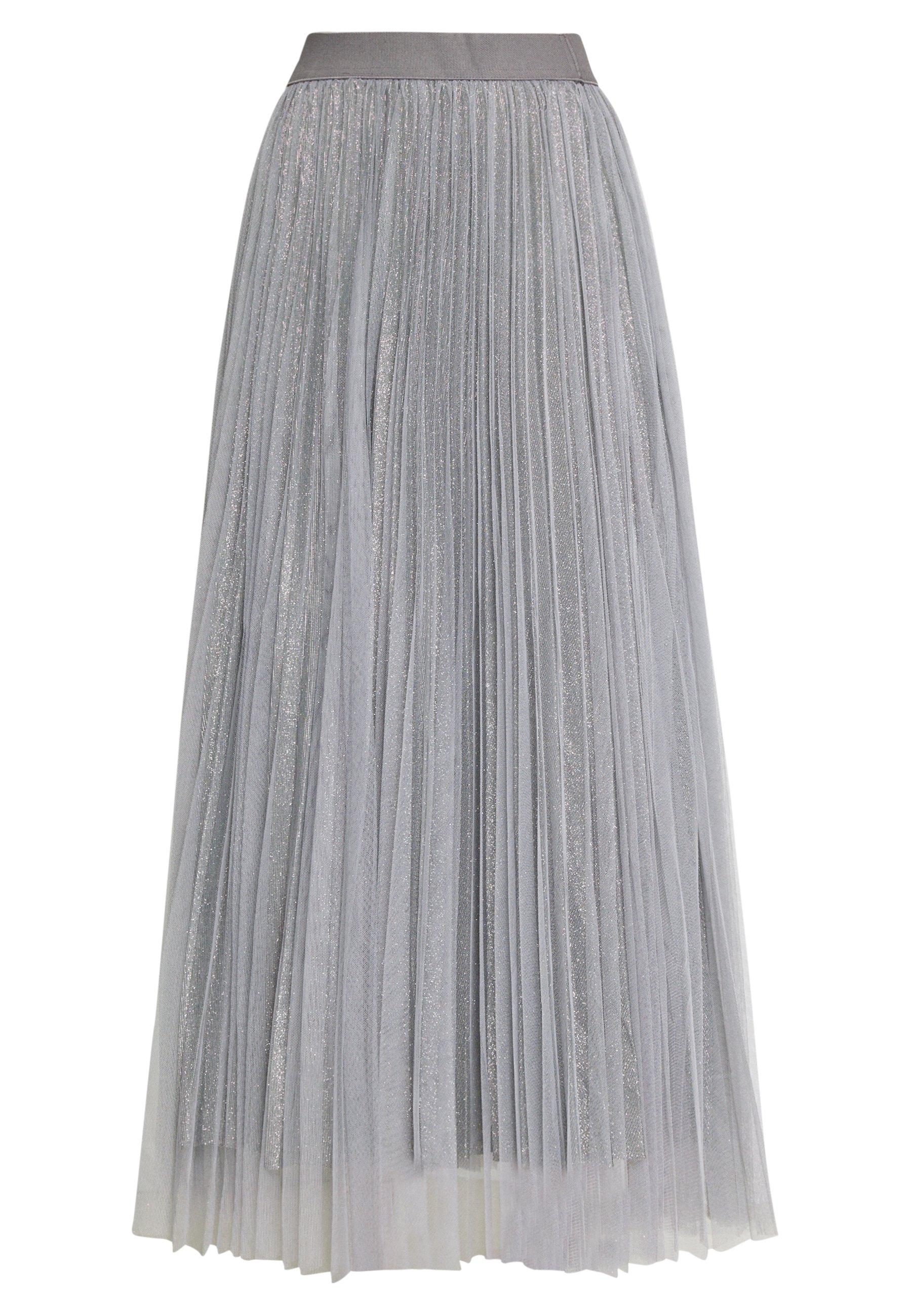 New Look GLITTER PLEATED OVERLAY SKIRT - Spódnica trapezowa - mid grey