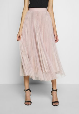 GLITTER PLEATED OVERLAY SKIRT - A-Linien-Rock - pale pink