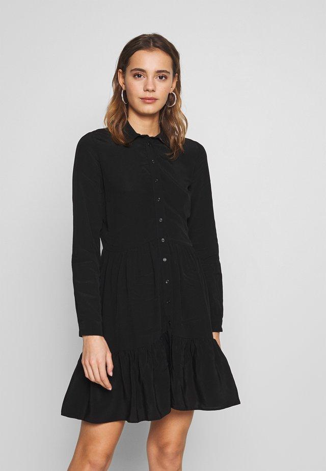 FRILL SHIRT DRESS - Shirt dress - black