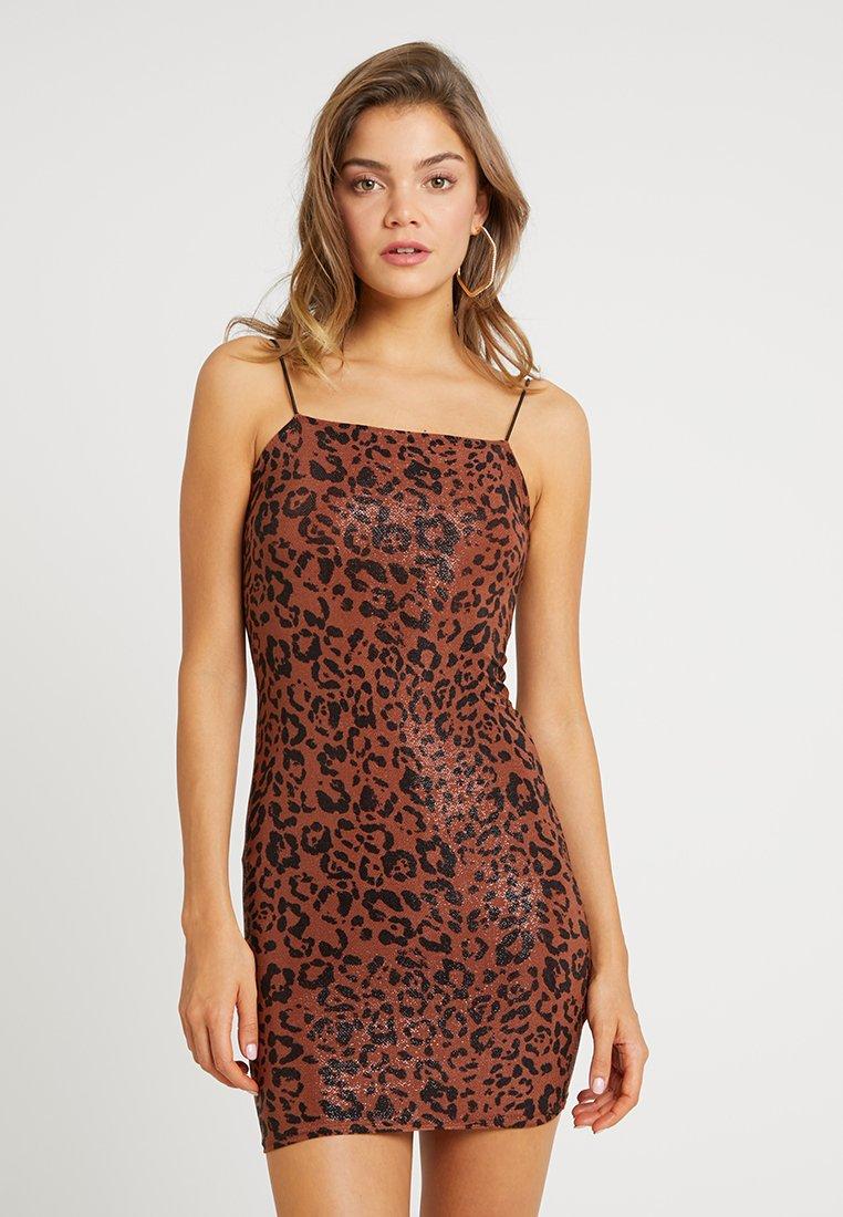 New Look - ANIMAL GO ANIMAL SHIMMER DRESS - Cocktailkleid/festliches Kleid - brown