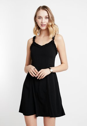 RUFFLE EDGE SUNDRESS - Day dress - black