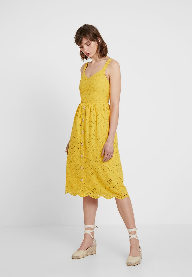 New Look - BRODERIE FRONT MIDI - Day dress - yellow spice