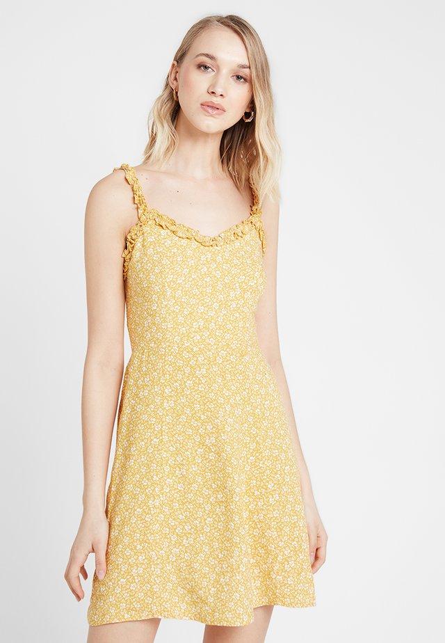 PRINT RUFFLE EDGE SUNDRESS - Day dress - yellow
