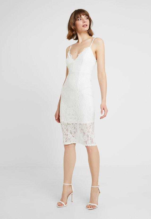 SCALLOP HEM MIDI DRESS - Shift dress - off white