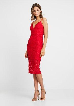 SCALLOP HEM MIDI DRESS - Pouzdrové šaty - bright red