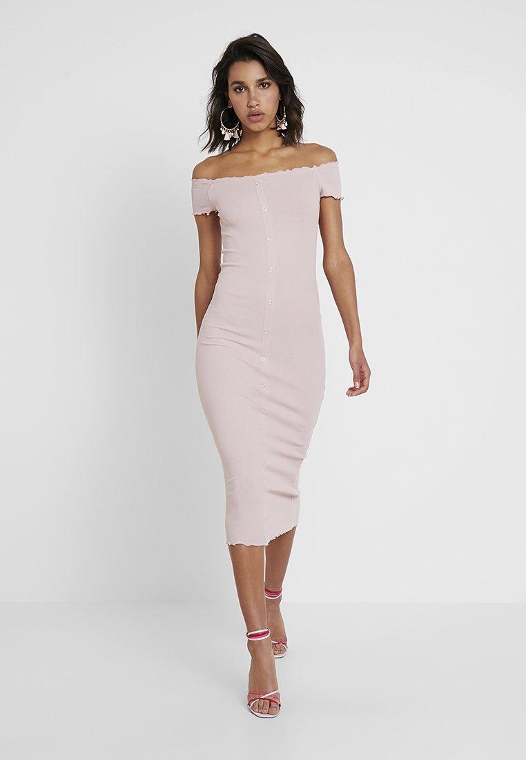 New Look - FRILL EDGE POPPER BARDOT - Denní šaty - nude