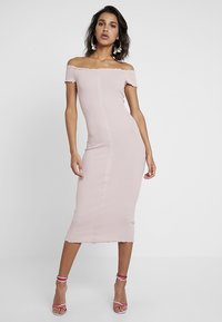 New Look - FRILL EDGE POPPER BARDOT - Denní šaty - nude - 1