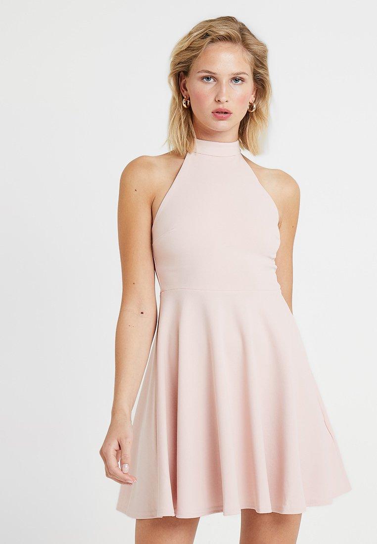 New Look - GO HIGH NECK SKATER DRESS - Koktejlové šaty/ šaty na párty - nude