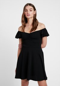 New Look - GO RUCHED FRONT MILKMAID - Robe en jersey - black - 0