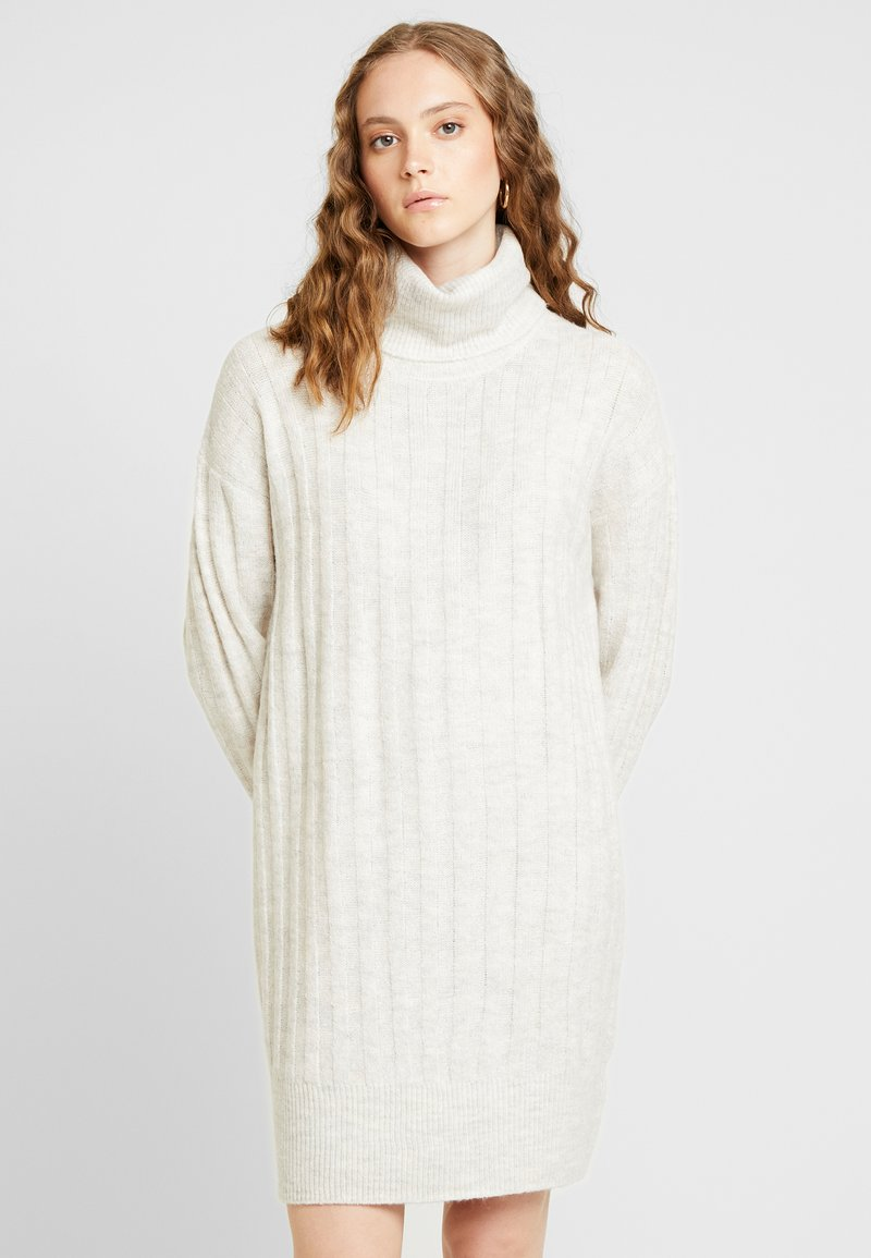 New Look - WIDE ROLL NECK DRESS - Jumper dress - pale grey