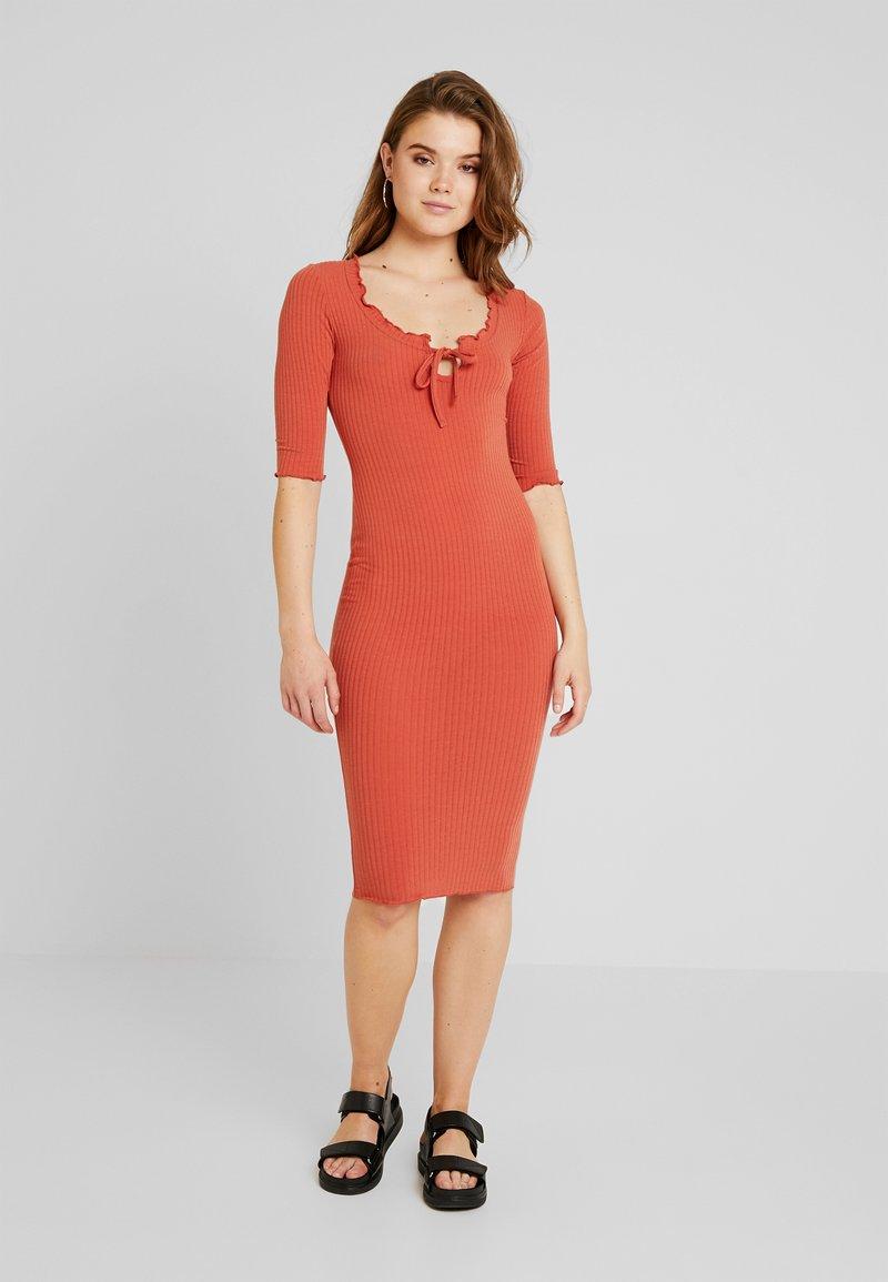 New Look - FRILL EDGE NECK TIE - Shift dress - rust