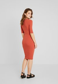 New Look - FRILL EDGE NECK TIE - Shift dress - rust - 2