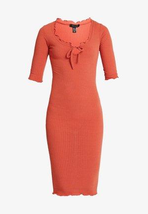 FRILL EDGE NECK TIE - Shift dress - rust