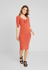New Look - FRILL EDGE NECK TIE - Shift dress - rust