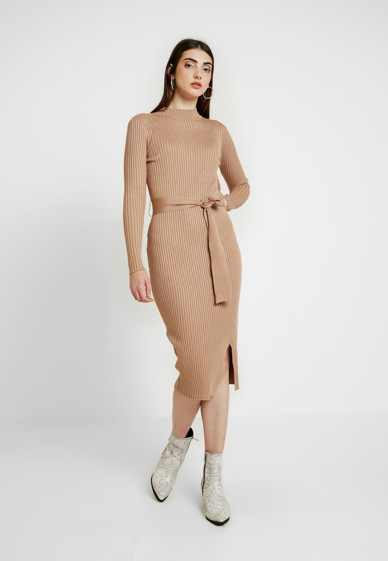 New Look - TIE WAIST DRESS - Shift dress - camel