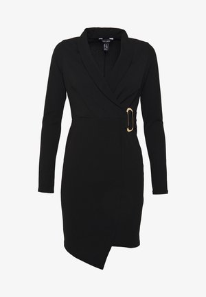 WRAP FRONT BUCKLE MINI - Robe fourreau - black