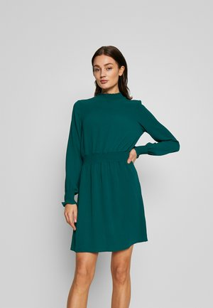 PLAIN SHIRRED MINI - Day dress - dark green