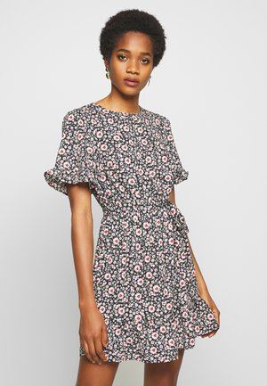 LEILH FLORAL FRILL MINI - Day dress - black pattern