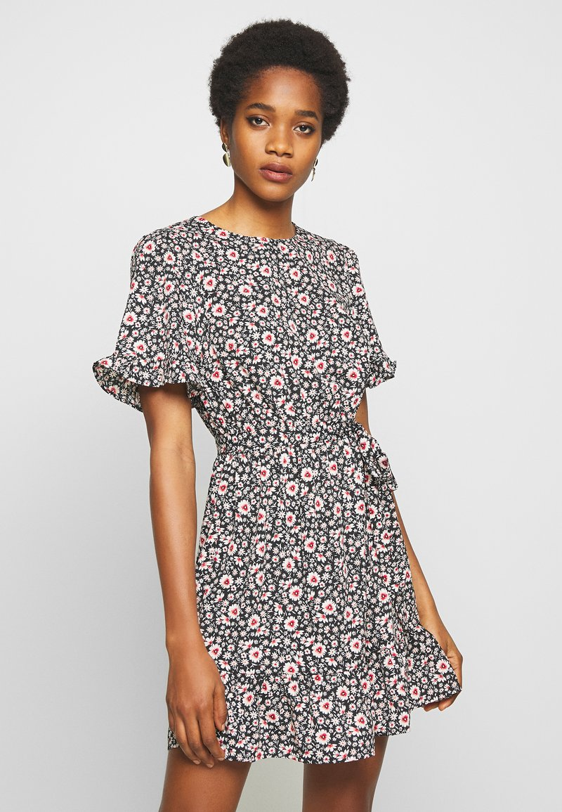 New Look - LEILH FLORAL FRILL MINI - Denní šaty - black pattern