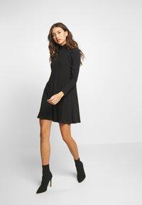New Look - SHIRRED NECK LETTUCE EDGE MINI - Day dress - black - 1