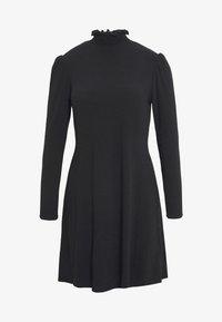 New Look - SHIRRED NECK LETTUCE EDGE MINI - Day dress - black - 3