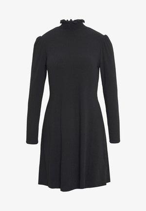 SHIRRED NECK LETTUCE EDGE MINI - Robe d'été - black