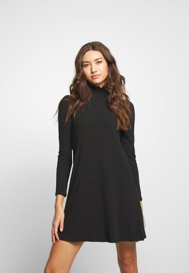 SHIRRED NECK LETTUCE EDGE MINI - Korte jurk - black