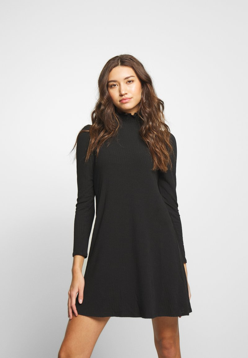 New Look - SHIRRED NECK LETTUCE EDGE MINI - Day dress - black
