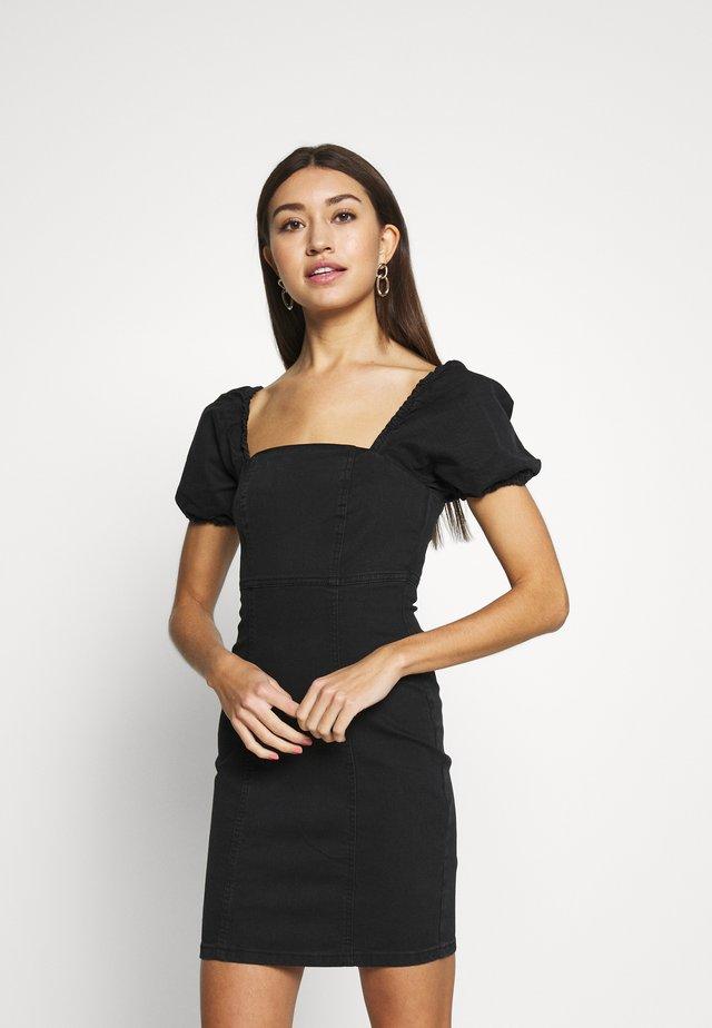 SHAKIRA PUFF SLEEVE DRESS - Vestido vaquero - black