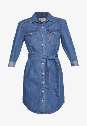 ANNA LONG SLEEVE DRESS - Skjortklänning - mid blue