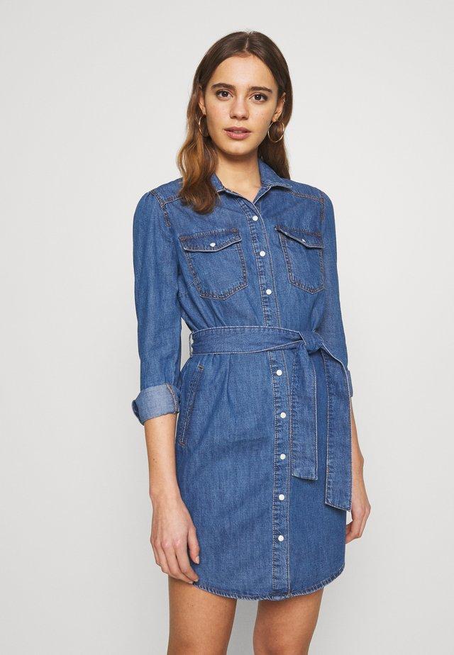 ANNA LONG SLEEVE DRESS - Shirt dress - mid blue