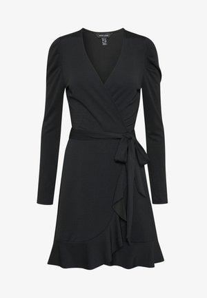 PUFF WRAP DRESS - Jerseyklänning - black