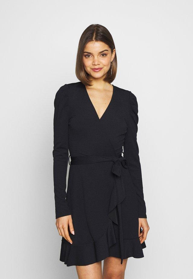 PUFF WRAP DRESS - Vestido ligero - black