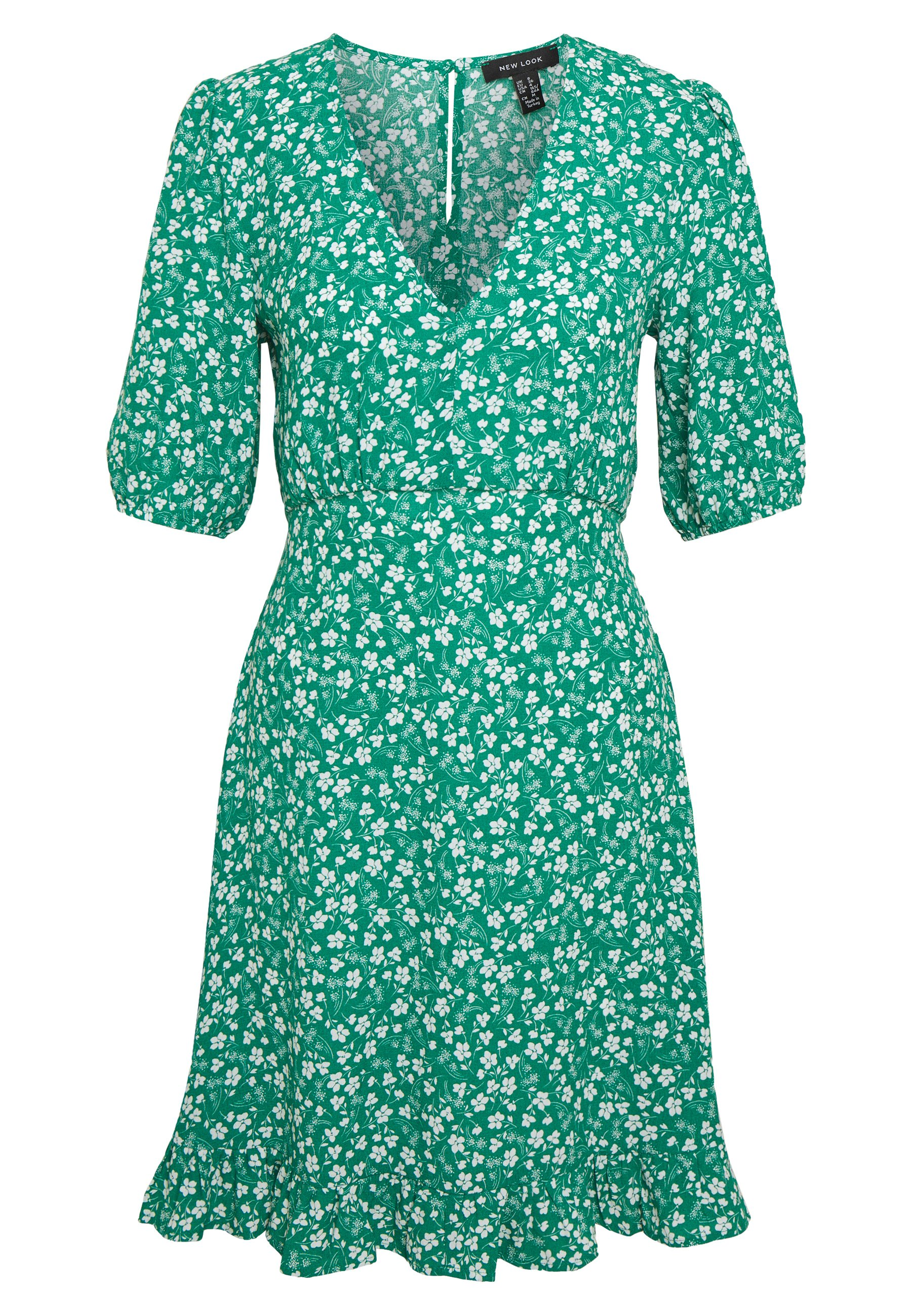 New Look PRINT BALLOON EMPIRE MINI - Sukienka letnia - dark green