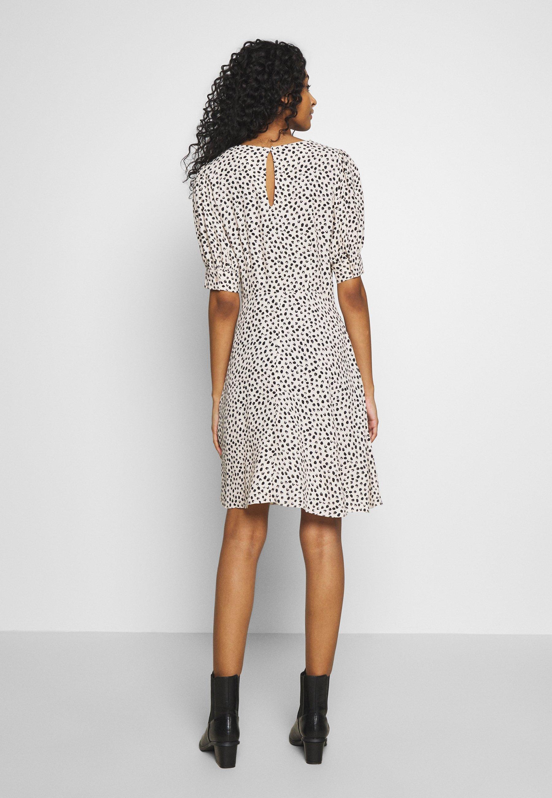 New Look Spot Puff Tea Dress - Kjole White Pattern
