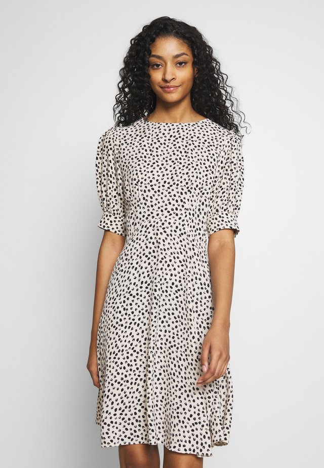 SPOT PUFF TEA DRESS - Day dress - white pattern