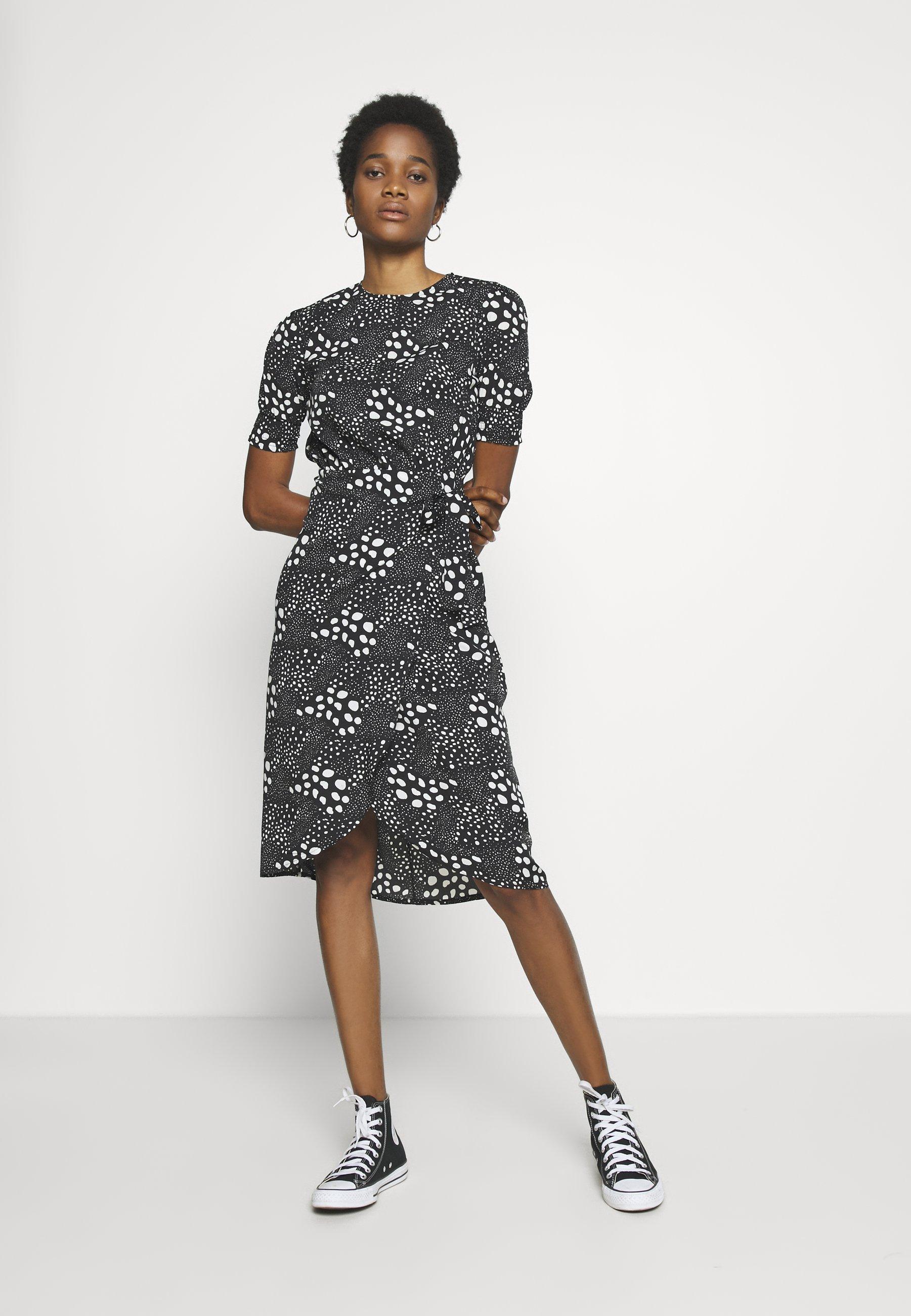 New Look MIXED SPOT TIE WAIST MIDI - Sukienka letnia - black