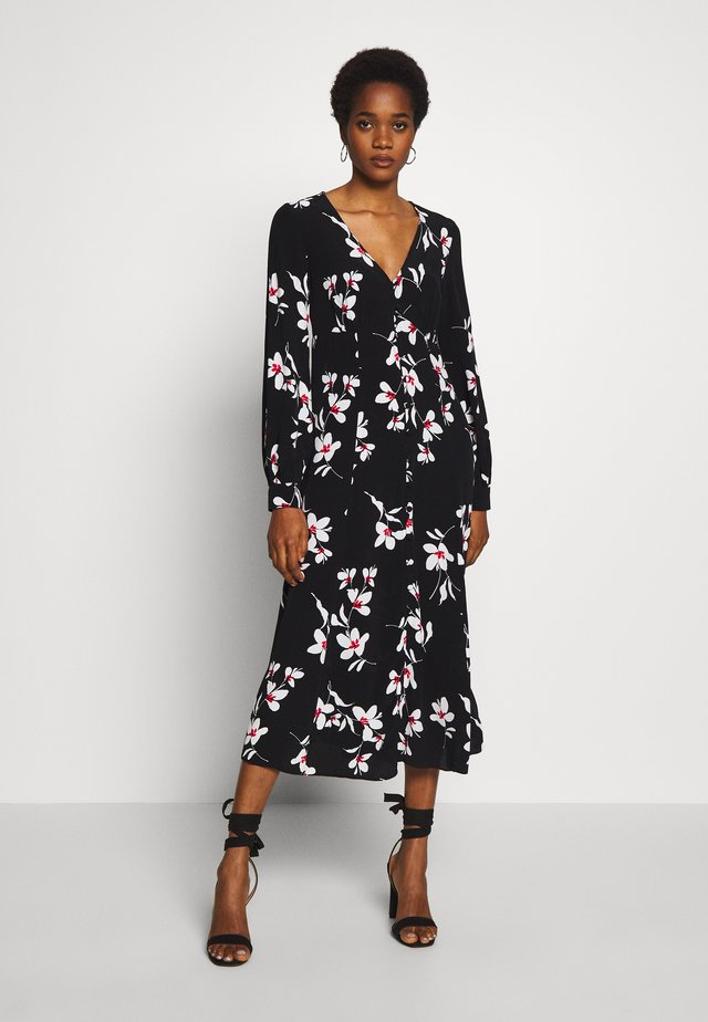 ULLA BUTTON MIDI - Blousejurk - black