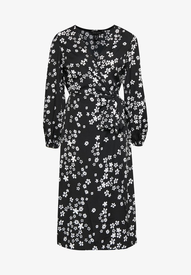 MIXED MONO FLORAL WRAP MIDI - Day dress - black