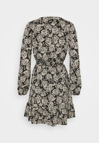 New Look - FALICIA FLORAL WRAP MINI - Shirt dress - black - 1