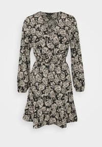 New Look - FALICIA FLORAL WRAP MINI - Shirt dress - black - 0