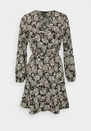 FALICIA FLORAL WRAP MINI - Shirt dress - black