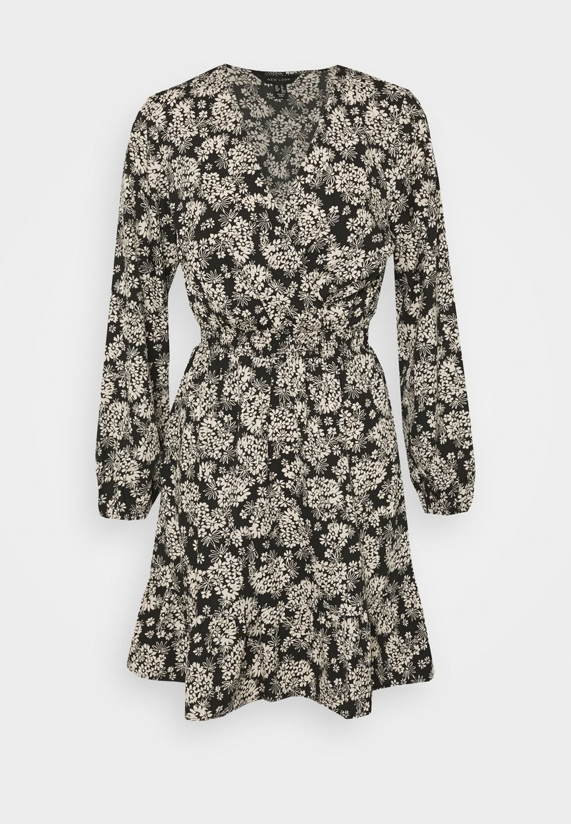 New Look - FALICIA FLORAL WRAP MINI - Shirt dress - black
