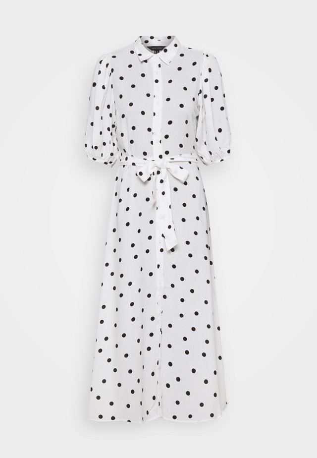 LINDA SPOT PUFF MIDI - Vestido camisero - white