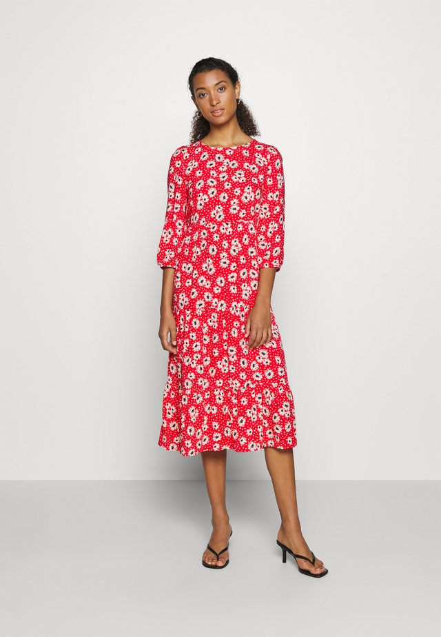 DEYA DAISY TIER SMOCK MIDI - Day dress - bordeaux